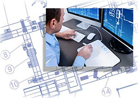 CAD Engineer at work on computer